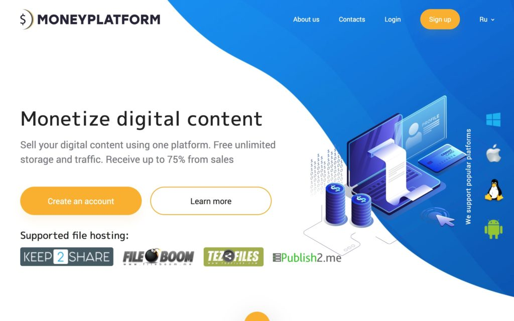 Screenshot of MoneyPlatform homepage. Illustrates how you can monetize your digital content.